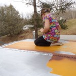 Lydia is painting the roof of the bus.