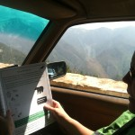 Working on Jr. Ranger books while stopped for road construction.