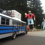 Paul Bunyan and Babe with The Scholl Bus